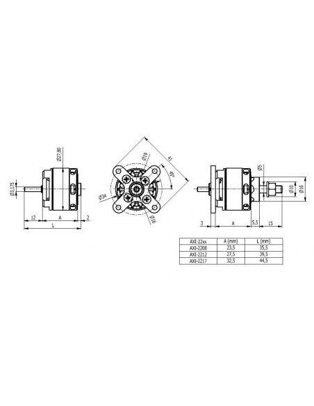 AXI 2217/20 V2 mit Zubehör Abmessungen