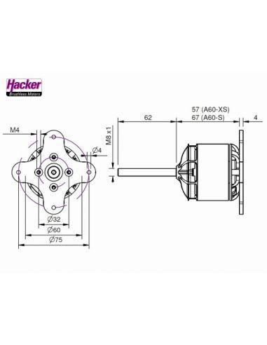Hacker A60-6XS V2 28 Pole Abmessungen