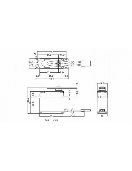 Hi Tec MD250 MW Poti-Less HV Digi Servo Abmessungen
