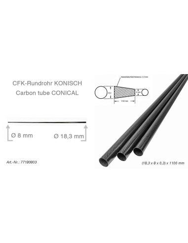 CFK-Rohr Konisch (18,3 x 8 x 0,3) x 1100mm