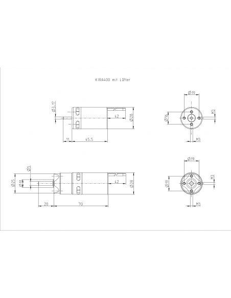 Kontronik Kira 400-39 mit 5,2:1 Getriebe Abmessungen