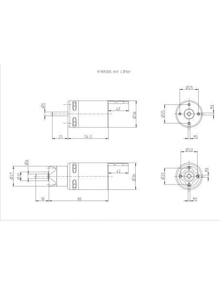 Kontronik Kira 500-26 mit 5,2:1 Getriebe, 5547, Abmessungen
