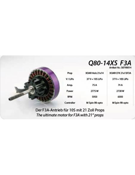 Hacker Q80-14S 209KV F3A, Daten