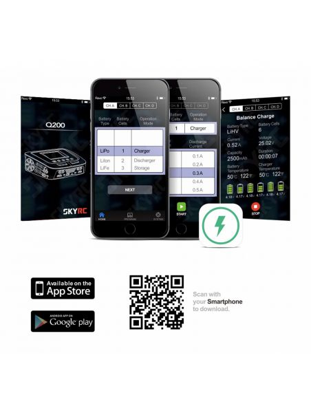 SkyRC Q200 AC/DC Ladegerät LiPo 1-6s 10A 2x100W, 2x50W, App
